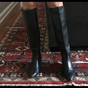 Knee high leather tall black boots kitten heal